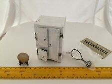 1/12 MINI EARLY VINTAGE ICE BOX WOODEN PLUS SHACKMAN ICE TONGS ICE PICK AND ICE