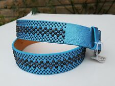 $375 POST & CO womens belt studded blue size 85 Made in Italy