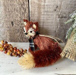 Woodland Fox Bristle Brush Christmas Tree Bauble Decoration Xmas Hanging Decor