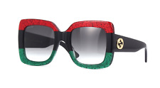 Gucci GG0083S 001 Women Square Sunglasses Red Black Gray 100%