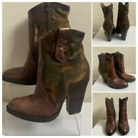 WESTERN COMBAT CAMOUFLAGE LEATHER ANKLEBOOTS WOMENS BOOTIES SHOES BOOTS UK 3 NEW