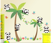 Panda Birds Palm Tree Flower Wall Stickers Children Nursery Rooms Decor Lovely