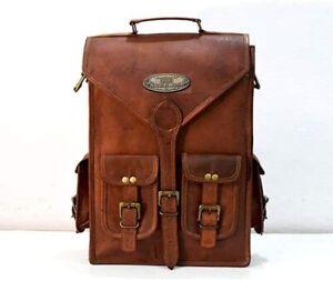 Leather Bag Real Backpack Travel Rucksack Vintage Handmade Laptop Men (18 inch)