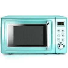 0.7Cu.ft Retro Countertop Microwave Oven 700W LED Display Glass Turntable Green