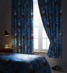"""Sea Pirates Blackout Pencil Pleat Curtains With Tieback W168 (66"""") D183 (72"""")"""