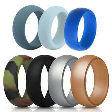 7PCS/Lot Women Men Silicone Couple Ring Unisex Band Fashion Jewelry Gift Size 10