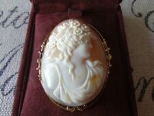 AMAZING VINTAGE LARGE ITALIAN HAND CARVED SHELL CAMEO ANTIQUE PIN PENDANT LUXURY