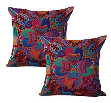 Us Seller-decorative pillow 2pcs Mexican Huichol Indian art print cushion cover