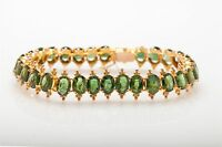 Designer Etruscan $12,000 30ct Natural GREEN Sapphire 14k Gold Tennis Bracelet