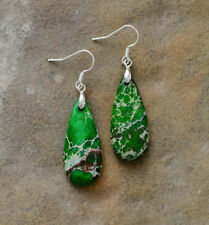 Sterling Silver Natural Malachite Pear Dangle Drop Earrings Teardrop Green