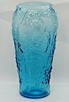 Indiana Glass Tiara Exclusives Parrot and Floral 9-Inch Vase, Aqua Blue