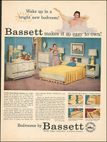 1956 Vintage ad for Bassett Bedroom Furniture`Art Retro Photo Lamp Bed (051417)