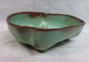 Vtg MCM Frankoma 4N Lazybones freeform Bowl Prairie Green Sapula Clay-perfect