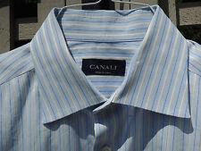 Men's Canali Long Sleeve Button Down Shirt Size 17-36 Blue White Stripe Italy