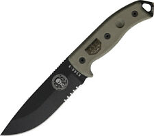 "ESEE Model 5 Knife ES-5S-KO-BK 10 7/8"" overall. 5 1/4"" partially serrated 1095 h"