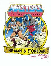 "MASTERS OF THE UNIVERSE ""He-Man & Stonedar"" SIGNED Errol McCarthy 8.5"" X 11"""