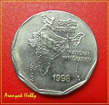 2 rupees 1998 error coin - OMS - Strong Magnet ! Normal coin is non magnetic !
