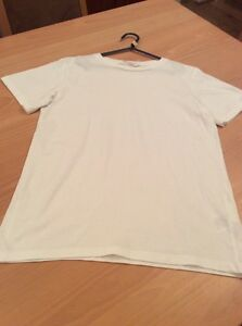 boys clothes 11-12 years H&M White Cotton Short Sleeved Round Neck Top T-Shirt