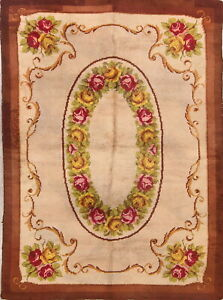 Vintage Floral Savonnerie French Area Rug Hand-knotted Home Decor 6'x9' Carpet