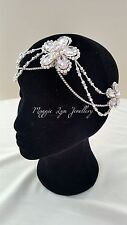 Bridal wedding head piece hair accessory, chains, drapes, forehead, back of head