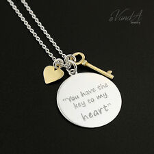 Sterling Silver you have the key to my heart with key and heart necklace N130