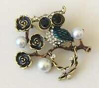 Vintage style Two Birds on a tree Branch Brooch Pin in enamel on gold tone metal