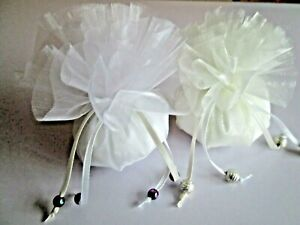 60 x Crystal Organza Favour Nets - Create Unique Wedding Favours - Ivory