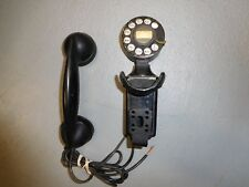 Western Electric Co. Metal/Bakelite Wall Mount Rotary Dial Telephone Black