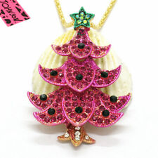 New Rose Crystal Christmas Tree Star Betsey Johnson Pendant Sweater Necklace