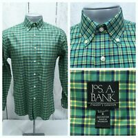 JOS. A BANK CASUAL DRESS SHIRT S SMALL TAILORED FIT GREEN YELLOW BLUE PLAID