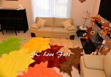 Fall Leaves Area Rug Assorted Colors Faux Fur Furry Sheepskin Home Living Decor