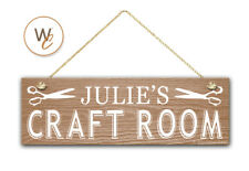 "CRAFT ROOM Sign, Custom Name On 5.5"" x 17"" Wood Sign, Personalized Gift"