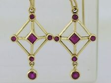 Lovely Genuine 9ct Solid Yellow Gold NATURAL Ruby Drop Earrings