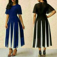 Women Summer Chiffon Boho Casual Long Maxi Stripe Party Beach Dress Sundress