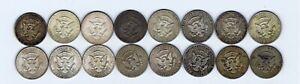 16 identical 1964 US USA Kennedy 50 cents Half Dollar silver coin : 199.7g