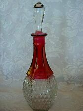 Vintage Ruby Red Stained Diamond Point Pressed Glass Wine Decanter/ Bottle