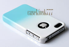 for iPhone 4 4s  hard back case blue and white rubberi zed \\///././