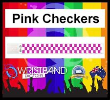100 x Tyvek Pink Checkers Party Function Event Disco Rave Security Wristbands