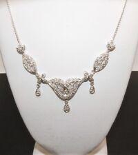 1/2 TCW Antique Style Diamond Neckalce in 14Kt. White Gold