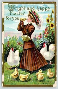 Easter~Blond Lady Holds Chick To Kiss~Roses On Hat~Hens~Emb~Vintage Postcard