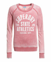 New Womens Superdry Factory Second Trackster Long Sleeve Top Washed Pink