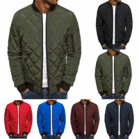 Men's Winter Down Jacket Lightweight Packable Stand Collar Puffer Coat Bomber