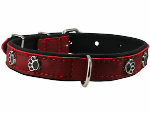 Genuine High Quality Red Leather Metal Paw Studs Soft Leather Padded Dog Collar