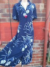 Navy blue Floral Button Up Tea Dress 90s Retro sze 20 tie landgirl grunge midi