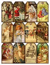 12 Christmas Vintage Hang Tags Santa Angels Snowman Scrapbooking (14)