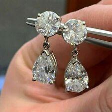 Certified 4.00 Ct Diamond Drop/Dangle Earrings 14k White Gold Round & Pear Shape