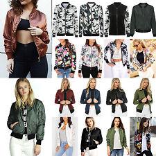 Women Vintage Classic Bomber Jacket Ladies Various Zip Up Biker Coat Outwear Top