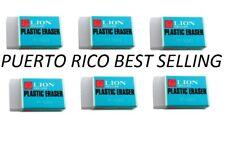 ***FREE SHIPPING*** (6)  LION PLASTIC ERASERS P-100  ~WORLD BEST ERASER~