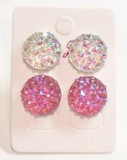 Small Sparkly Clear & Pink Ab Crystal Diamante Rhinestone Earrings