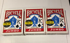 Lot of 3 Bicycle Jumbo Index Red Playing Cards with Jokers